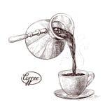 Vector l'illustrazione di schizzo del caffè caldo ed aromatizzato preparato fresco di mattina dai Turchi versati nella tazza beva Fotografia Stock