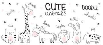 Vector l'illustrazione di schizzo del fumetto con gli animali svegli di scarabocchio fotografia stock libera da diritti