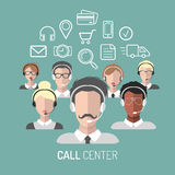 Vector l'illustrazione di servizio di assistenza al cliente, icone degli operatori di call center con le cuffie avricolari Fotografia Stock