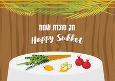 Vector l'illustrazione di Sukkah con l'alimento della tavola degli ornamenti per il sukkot ebreo di festa royalty illustrazione gratis