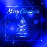 Vector l'illustrazione di un albero d'ardore al neon del nuovo anno immagine stock