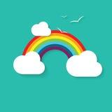 Vector l'illustrazione di un arcobaleno, delle nuvole e degli uccelli Immagine Stock Libera da Diritti