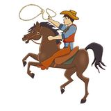 Vector l'illustrazione di un cowboy che galoppa su un cavallo Fotografia Stock