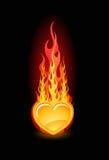 Vector l'illustrazione di un cuore lucido in fuoco Immagine Stock Libera da Diritti