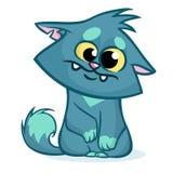 Vector l'illustrazione di un gatto grasso blu sorridente sveglio Fumetto del gatto spogliato grasso Fotografia Stock Libera da Diritti
