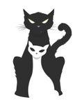 Vector l'illustrazione di un gatto maschio brutale che protegge il suo fragile Fotografia Stock Libera da Diritti