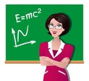 Vector l'illustrazione di un insegnante ad un consiglio scolastico Immagine Stock