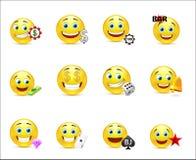 Vector l'illustrazione di un insieme degli emoticon con i segni dei soldi Immagine Stock