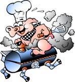 Vector l'illustrazione di un maiale del cuoco unico che guida un barilotto del BBQ Fotografia Stock