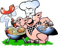 Vector l'illustrazione di un maiale del cuoco unico che sta e che fa il BBQ Immagini Stock Libere da Diritti