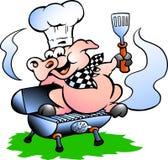 Vector l'illustrazione di un maiale del cuoco unico che sta su un barilotto del BBQ Immagini Stock