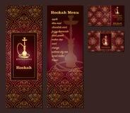 Vector l'illustrazione di un menu per una cucina orientale araba del caffè o del ristorante con il narghilé, biglietti da visita illustrazione di stock