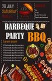 Vector l'illustrazione di un modello del menu del bbq, la carta su un barbecue, buono regalo dell'invito Immagine Stock