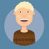Vector l'illustrazione di un uomo che sorride con i capelli ricci biondi in un maglione marrone su un fondo blu scuro Immagine Stock