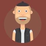 Vector l'illustrazione di un uomo con un sorriso, con capelli scuri in un cappello ed in un panciotto su un fondo scuro di Borgog royalty illustrazione gratis