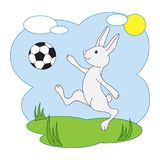 Vector l'illustrazione di una lepre con un pallone da calcio Per progettazione, magliette, etichette Fotografie Stock
