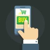 Vector l'illustrazione di una mano dell'uomo s, commettente shopping spree online tramite smartphone Immagine Stock