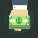 Vector l'illustrazione di una mano dell'uomo s e un pacco di soldi su un fondo scuro Immagine Stock Libera da Diritti