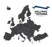 Vector l'illustrazione di una mappa di Europa con lo stato dell'Estonia illustrazione di stock