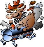 Vector l'illustrazione di una mucca che guida un barilotto del BBQ Fotografia Stock