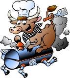 Vector l'illustrazione di una mucca del cuoco unico che guida un barilotto del BBQ Fotografia Stock Libera da Diritti
