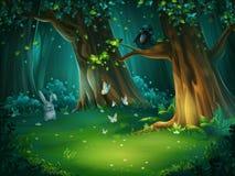 Vector l'illustrazione di una radura della foresta con la lepre e le farfalle illustrazione di stock