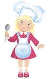 Vector l'illustrazione di una ragazza bionda sveglia vestita nel cappello e nel grembiule di un cuoco unico Fotografie Stock Libere da Diritti