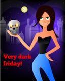 Vector l'illustrazione di una ragazza del vampiro con un cranio per il nero scuro venerdì Fotografie Stock Libere da Diritti