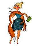 Vector l'illustrazione di una signora alla moda con una volpe Immagini Stock