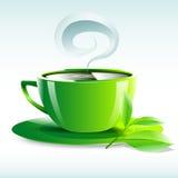 Vector l'illustrazione di una tazza gialla di tè caldo Fotografia Stock