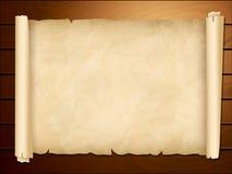 Vecchio papiro nei precedenti di legno Fotografia Stock Libera da Diritti
