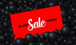 Vector l'illustrazione di vendita di Black Friday del cartellino rosso disposta in perle o in sfere nere Palle volumetriche Carta Fotografie Stock Libere da Diritti