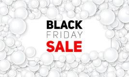 Vector l'illustrazione di vendita di Black Friday della carta bianca disposta in perle o in sfere bianche Palle volumetriche Sche Immagini Stock