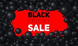 Vector l'illustrazione di vendita di Black Friday della carta bianca disposta in perle o in sfere bianche Palle volumetriche Sche Fotografia Stock Libera da Diritti