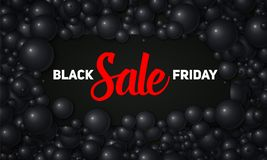Vector l'illustrazione di vendita di Black Friday della carta nera disposta in perle o in sfere nere Palle volumetriche Scheda de Immagini Stock