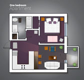 Vector l'illustrazione di vista superiore dell'un appartamento moderno della camera da letto Piano architettonico dettagliato di  Fotografia Stock Libera da Diritti