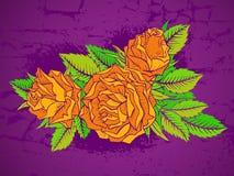 Vector l'illustrazione disegnata a mano con i fiori su fondo strutturato Immagine Stock
