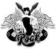 Vector l'illustrazione disegnata a mano della chitarra, dei demoni, della ragazza graziosa, delle ali, dei serpenti e dell'iscriz illustrazione di stock