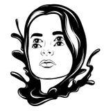 Vector l'illustrazione disegnata a mano della donna graziosa con le onde ed i quattro occhi Immagine Stock Libera da Diritti