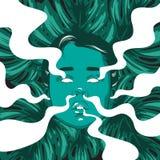 Vector l'illustrazione disegnata a mano della ragazza con fumo dalle orecchie, dagli occhi, dal naso, dalla bocca e dalle foglie  Fotografie Stock Libere da Diritti