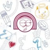 Vector l'illustrazione disegnata a mano di arte di personalità, emozioni Immagine Stock Libera da Diritti