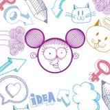 Vector l'illustrazione disegnata a mano di arte di personalità, emozioni Immagine Stock