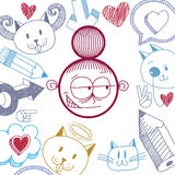 Vector l'illustrazione disegnata a mano di arte di personalità, emozioni Fotografia Stock Libera da Diritti