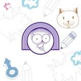 Vector l'illustrazione disegnata a mano di arte di personalità, emozioni Fotografie Stock