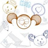 Vector l'illustrazione disegnata a mano di arte di personalità, emozioni Immagini Stock Libere da Diritti