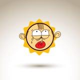 Vector l'illustrazione disegnata a mano di arte di personalità, emozioni sulla t Immagini Stock