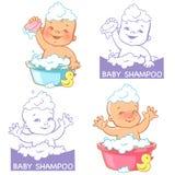 Vector l'illustrazione ed il logo per il sapone e lo sciampo del bambino Immagine Stock Libera da Diritti