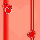 Vector l'illustrazione entro il giorno del ` s del biglietto di S. Valentino con i cuori rossi Immagine Stock Libera da Diritti