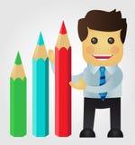 Presentazione dell'uomo di affari statistiche con le matite Fotografia Stock Libera da Diritti