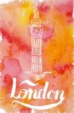 Vector l'illustrazione, etichetta di Londra con il Big Ben disegnato a mano Fotografia Stock